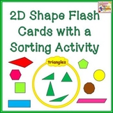 2D Shapes - Flash Cards with Venn Diagram Sorting Activity