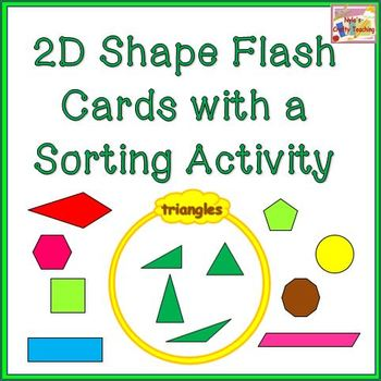 2d Shapes Flash Cards With Venn Diagram Sorting Activity Tpt