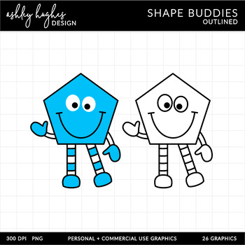 2D Shape Friends Clipart {A Hughes Design}