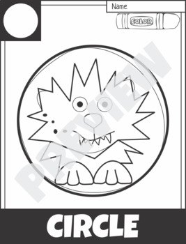 2D Shape Hero and Creature Coloring Pages Halloween