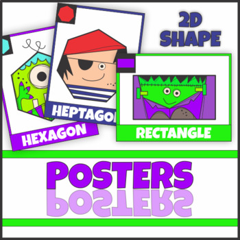 2D Shape Hero and Creature Posters