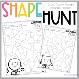 2D Shape Hunt No Prep Worksheets - Circle, Square, Triangle, Rectangle, Hexagon