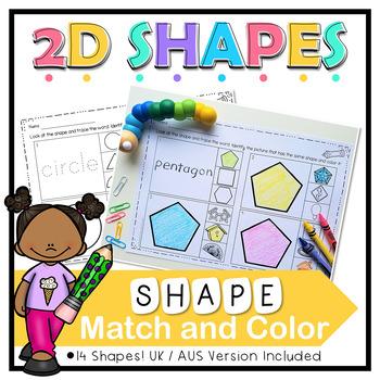 2D Shape Match and Color No Prep Worksheets