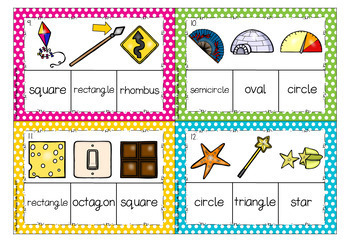 2D Shape Name Match Clip Cards, Task Cards