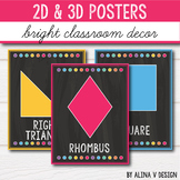 2D Shape Posters - 3D Shape Posters - Bright Classroom Decor