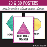 2D Shape Posters - 3D Shape Posters - Watercolor Classroom Decor