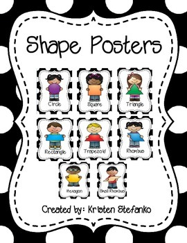 2D Shape Posters (Black and White Polka Dot)