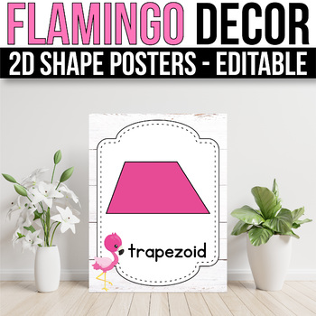 2D Shape Posters EDITABLE, Flamingo Classroom Decor, Flamingo Theme