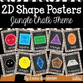 2D Shape Posters Jungle Chalk Theme