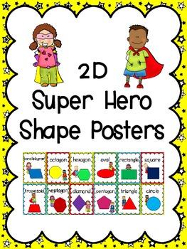 2D Shape Posters: Super Hero Kids Theme
