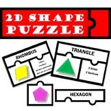2D Shape Puzzle Match Up Activity