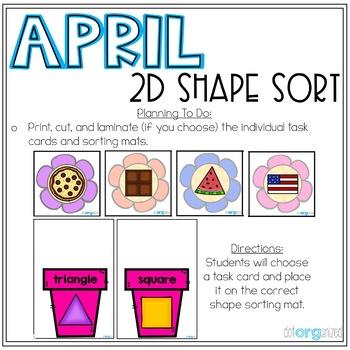 2D Shape Sort Kindergarten April Math Center