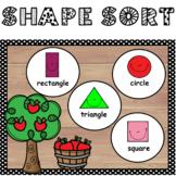 2D Shape Sort Math Center - (Shake and Spill Apples)