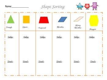 2D Shape Sort Math Centers