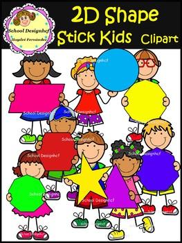 2D Shape Stick Kids - Clip Art (School Designhcf)