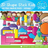 2D Shape Stick Kids - Clipart for Teaching