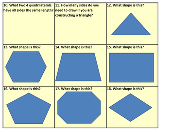 2D Shape Task Cards (TEKS 2.8 A, C) (33 Cards)