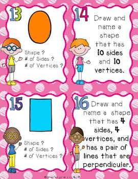 2D Shape Task Cards for 2nd Grade
