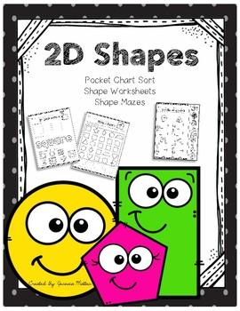 2D Shape Worksheets and Pocket Chart