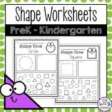 2D Shape Worksheets for Preschool - First Grade