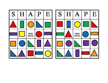 2D Shape and Color Bingo