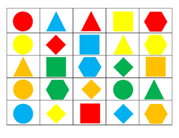 2D Shape and Color Bingo Game (3-Tiers for Differentiated Instruction)