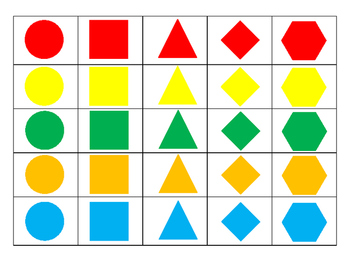 2D Shape and Color Bingo Preview