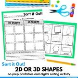 2D or 3D Shape Sort