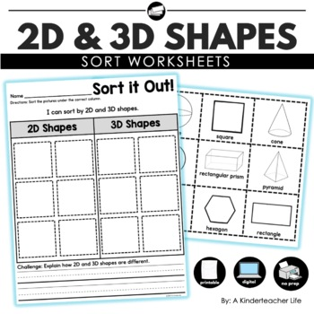 2D or 3D Shape Sort by A Kinderteacher Life | Teachers Pay Teachers