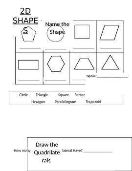2D Shape worksheet for second grade