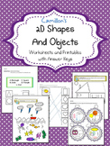 2 Dimensional Shapes Worksheets, 2D Shape Coloring Page Kindergarten - 1st Grade