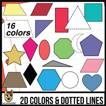 2D Shapes: 16 Colors, Dotted, and Line Art Clip Art