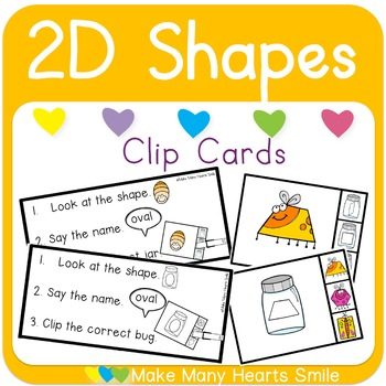 2D Shapes Bugs Clip Cards