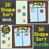 2D Shapes & 3D Shapes Sort Digital Boom Cards Bundle Dista