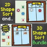 2D Shapes & 3D Shapes Sort Digital Boom Cards Bundle Dista