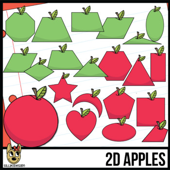 2D Shapes: Apple Clipart with Line Art