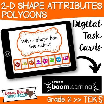 2D Shapes Attributes   Polygon Attributes Boom Cards (Second Grade TEKS)