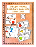 2D Shapes Attributes Puzzle Game, Worksheets, & Task Cards