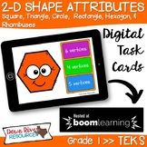 2D Shapes Attributes | Two-Dimensional Shapes Boom Cards (First Grade TEKS)