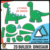 2D Shapes: Build A Dinosaur - cutting lines included - clip art