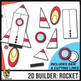 2D Shapes: Build A Rocket - cutting lines included - clip art
