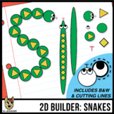 2D Shapes: Build A Snake - cutting lines included - clip art