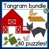 2D Shapes Center Printable Tangram Puzzle Bundle