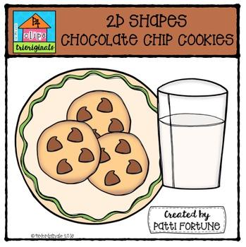 2D FUN Chocolate Chip Cookies Shapes {P4 Clips Trioriginals Digital Clipart}