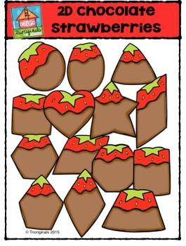 2D Shapes Chocolate Strawberries  {P4 Clips Trioriginals D