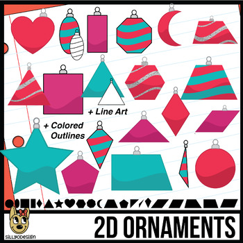 2D Shapes: Christmas Ornaments Clip Art