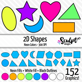 2D Shapes Clip Art ~ 19 Different Neon Shapes
