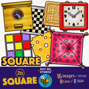 2D Shapes Clip Art: Squares