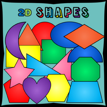 2D Shapes Clipart - 16 shapes in 8 colors