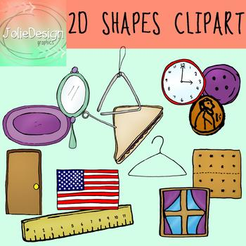 2D Shapes Clipart 25 Piece Set - Color and Black and White